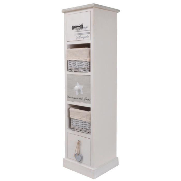 Blanc meuble de rangement 2 armoire 2 osier tiroir panier fleur rose filles meubles