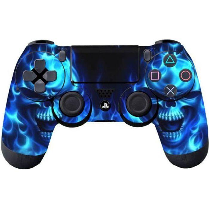 Customized Film Flamme Bleue Autocollant Peau Pour ps4 PlayStation 4 Contrôleur