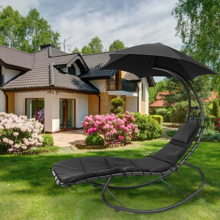 YGONGMYL Bain de Soleil Transat Chaise à bascule pour Jardin Piscine Balcon Terrasse - Parasol + Matelas + Cadre en Métal - Noir
