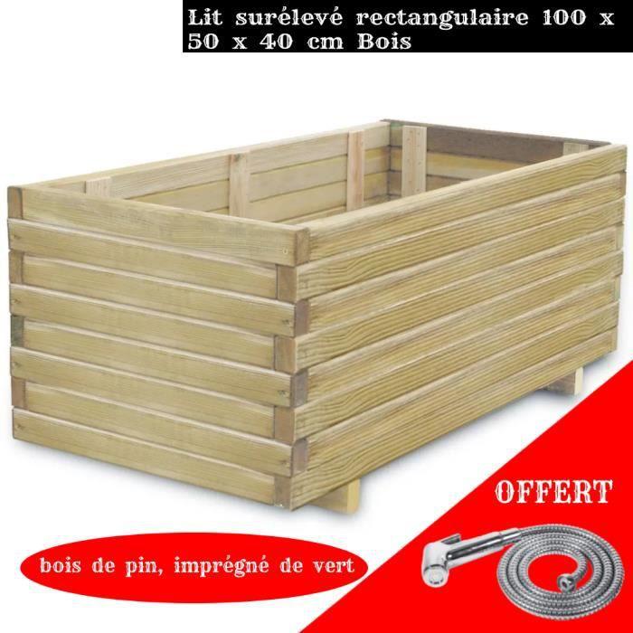 FIHERO Jardinière rectangulaire 100 x 50 x 40 cm Bois☻☺1