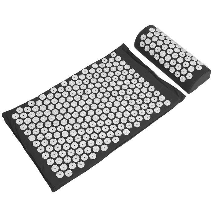 LUXS Kit Tapis d'Acupression Noir 67x42cm, Tapis de Massage en Coton, Tapis de Yoga d' Acupuncture, Soulagement et Détente