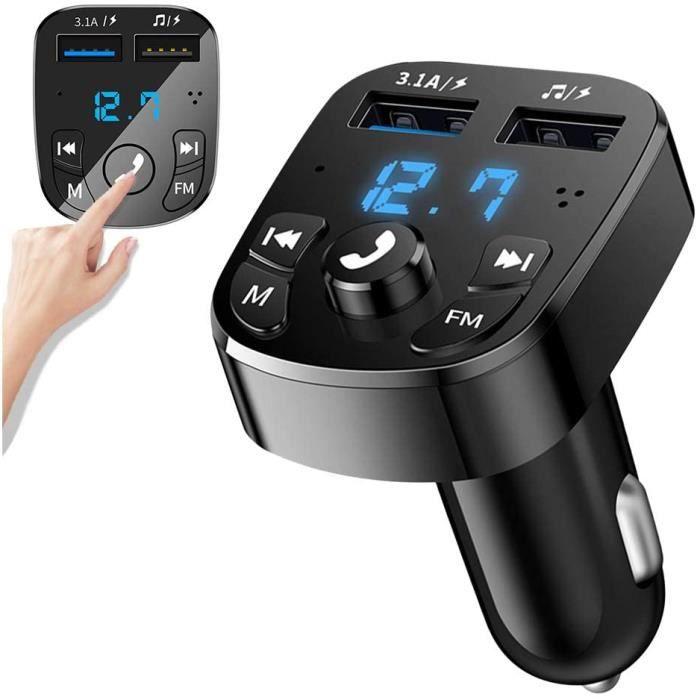 Transmetteur FM Bluetooth-Kit Main Libre Voiture Bluetooth Chargeur Rapide Allume Cigare avec Dual USB Ports-Lecteur MP3 Adapta[648]