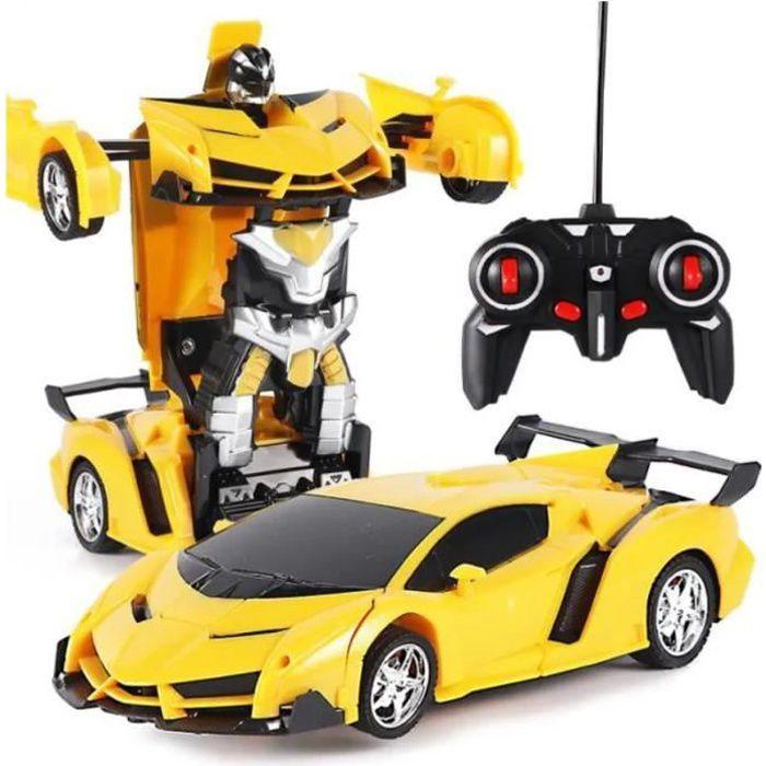 Voiture Voiture De Sport Modifié Robot Modèle Télécommande Déformation Voiture Télécommande Transformateurs Jouet Voiture -Jaune
