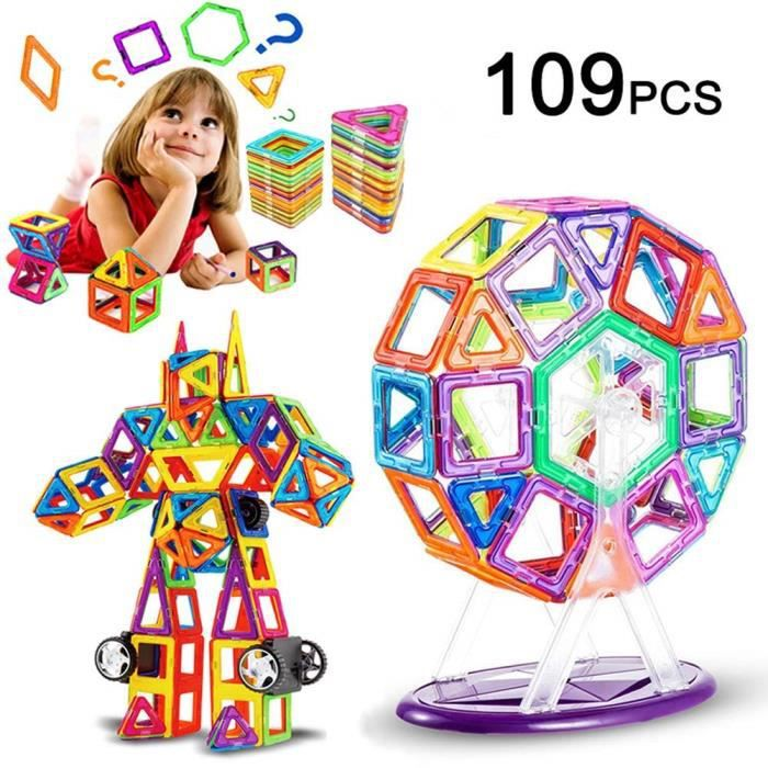 109 Pièce Blocs de Construction Magnétique, Magique Aimant Créatif Bloc Jouet Cadeau pour Journée des Enfants Bambin Plus de 3 Ans