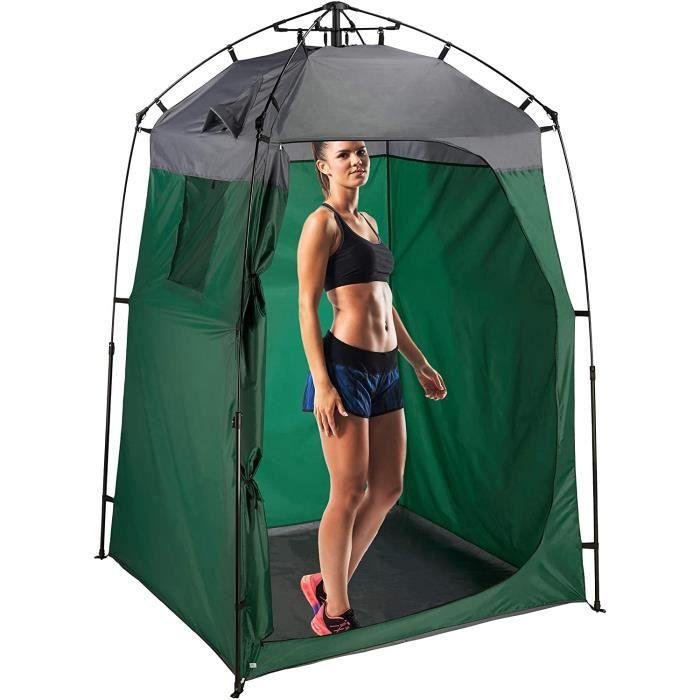 Relaxdays Tente de Douche Camping, XXL, Cabine d'essayage pour Camping & Jardin, 275 x 156,5 x 154 cm, Vert foncé/Gris