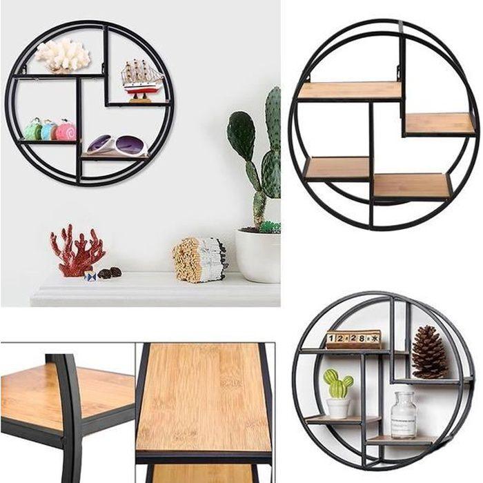Etagère murale ronde 4 niveaux bois et métal design industriel Étagère Rangement Pour Maison - 37x37x14 cm-RUR
