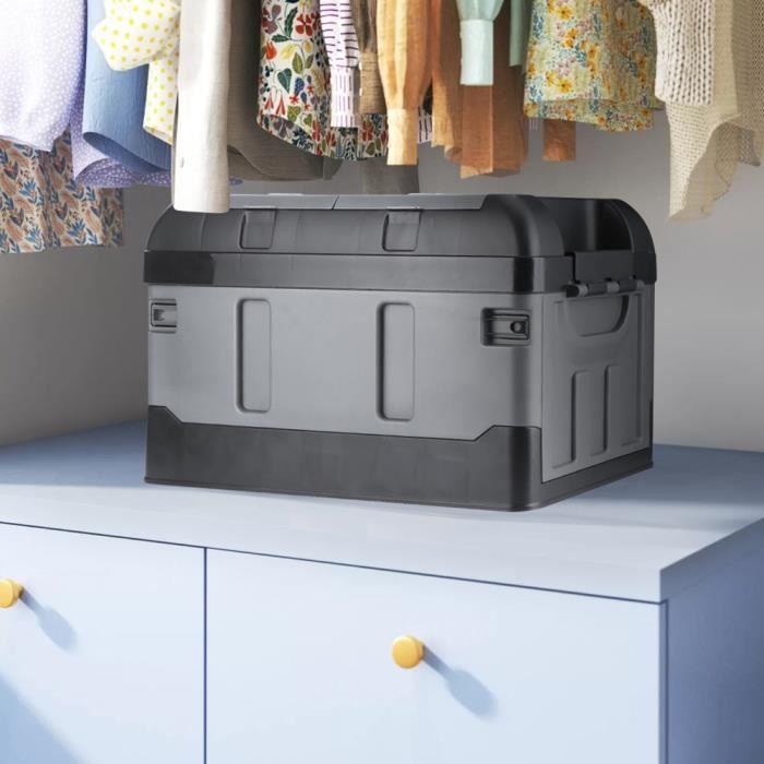 Fafeicy® Boîte de rangement pliable à double usage pour voiture domestique, couvercle haut à deux treillis 45L noir mat