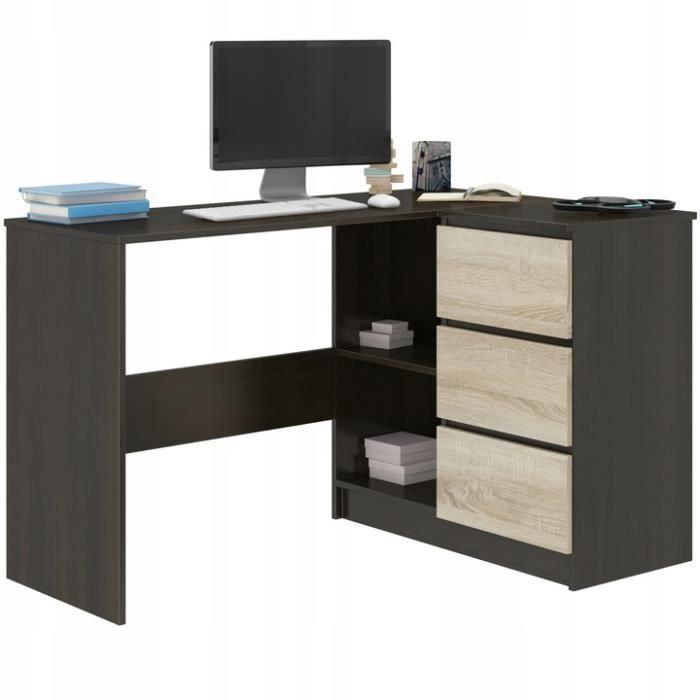 REX W - Bureau d'angle & rangements + 3 tiroirs - 112x87x76 - Table d'ordinateur - Table de travail - Wengé Sonoma