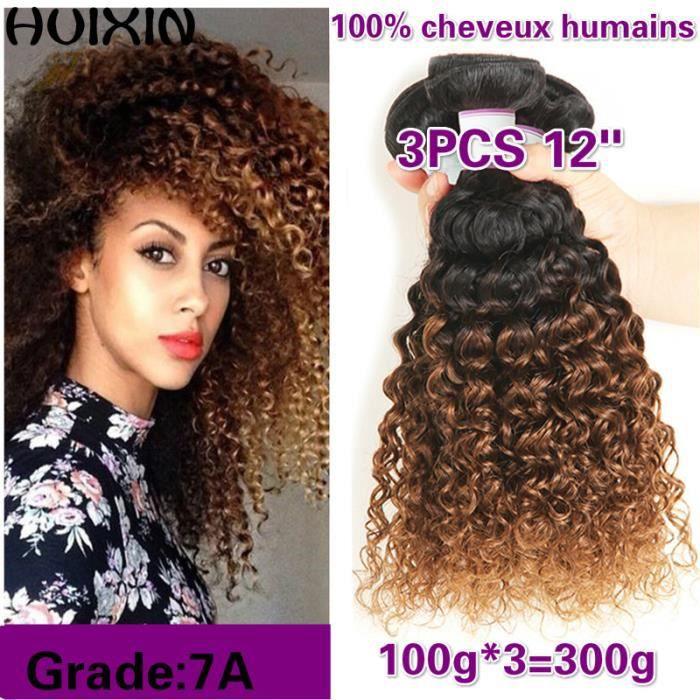 3tissage cheveux brésiliens ombre 1B-30 Faisceaux Armure extensions de cheveux humains 12pouces kinky curly