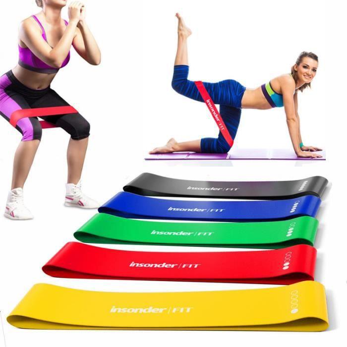 Lot de 5 Bandes de Résistance Élastique Latex pour Salle de Gym, Exercice, Yoga, Pilâtes, Kinésithérapie, Rééducation et Motrice