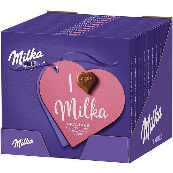 Milka I love Milka Pralinés à la crème de fraise 110g (Pack de 10)