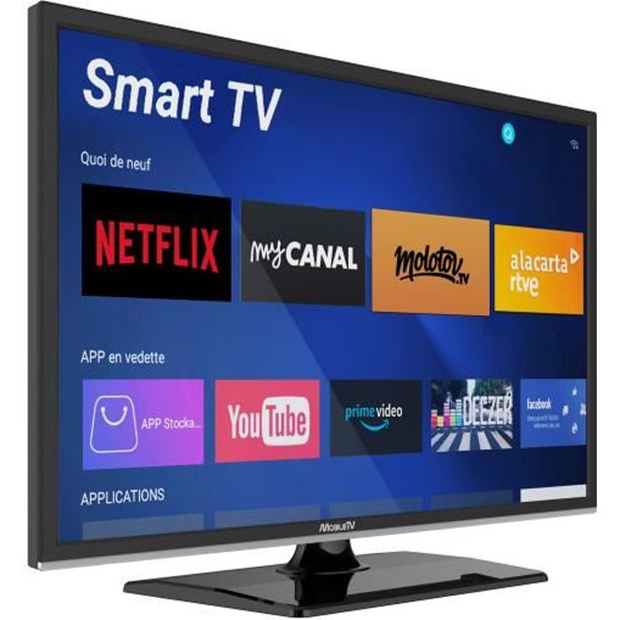 Smart TV 24- 60 cm Android Connectée Camping Car Camion Fourgon Internet WiFi DVD 12/24V - MobileTV Silverline - Garantie 3 Ans