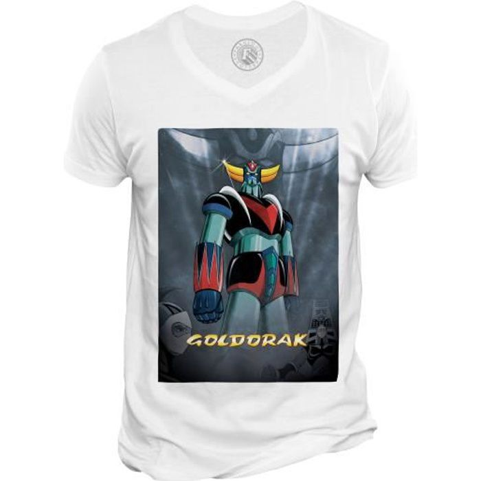 T-shirt Homme Col V Goldorak Couleur Hero Manga Robot Dessin anime