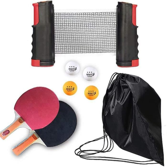 Set de tennis de table filet de ping-pong rétractable + 2 raquettes + 4 balles + sac - rouge noir