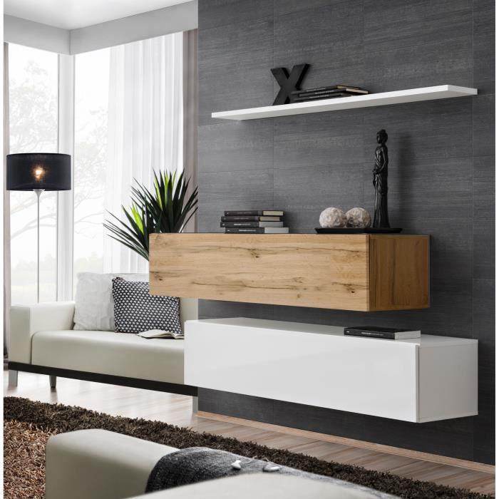 Ensemble meubles de salon SWITCH SBII design, coloris blanc brillant et chêne Wotan. 30 Blanc
