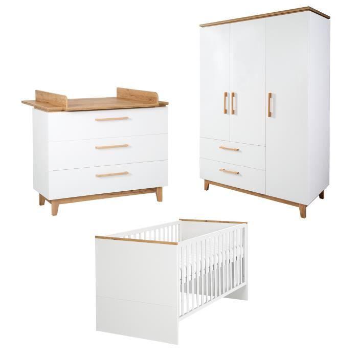 ROBA Ensemble de meubles bébé -Finn- – lit bébé 70x140 cm, commode à langer et armoire à 3 portes