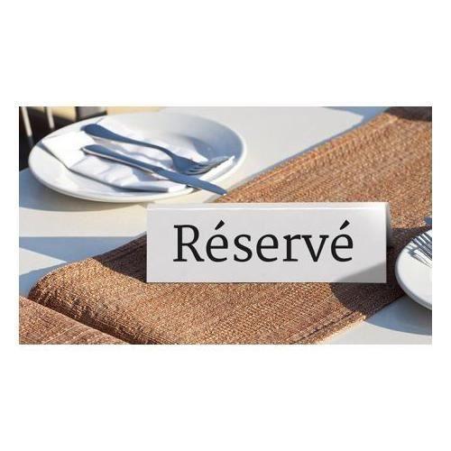 Securit Tableau noir de Table en plastique réservation française, lot de 5 pieds Blanc - TN-RES-FR-WT