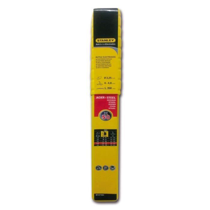 STANLEY 460832 Lot de 50 éélectrodes rutiles acier - Ø 3,25 mm - L 350 mm - Baguettes de soudure