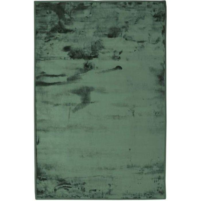 FLANELLE - Tapis extra-doux effet velours vert foncé 60x90