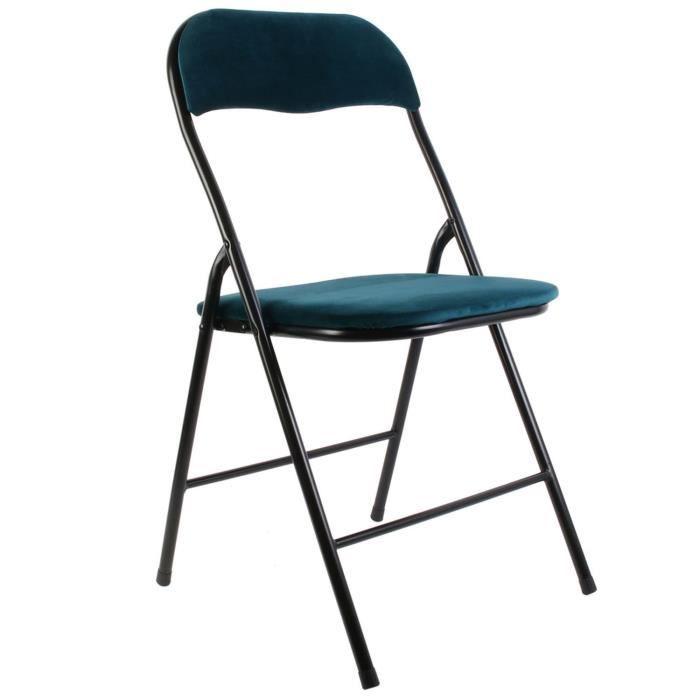 Chaise pliable en velours vintage Ecken - Bleu