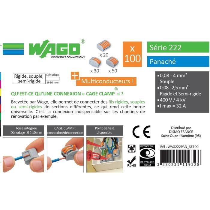 WAGO Seau 100 bornes - 222 - 2-3-5 entrées