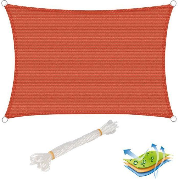WOLTU Voile d'ombrage rectangulaire en HDPE,protection contre le soleil avec protection UV pour jardin-terrasse, 2x3m, Terre Cuite