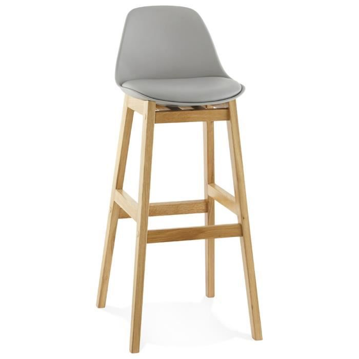 tabouret de bar 39 kiko 39 gris style scandinave achat vente tabouret gris cdiscount. Black Bedroom Furniture Sets. Home Design Ideas