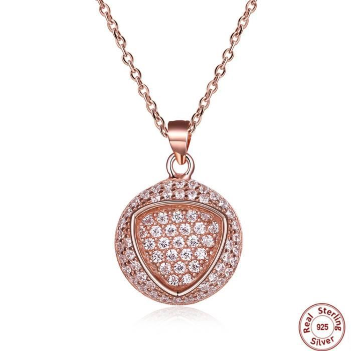 Ronde Collier femme en Swarovski Elements Cristal 24K Plaqué or rose Triangle Pendentif Collier