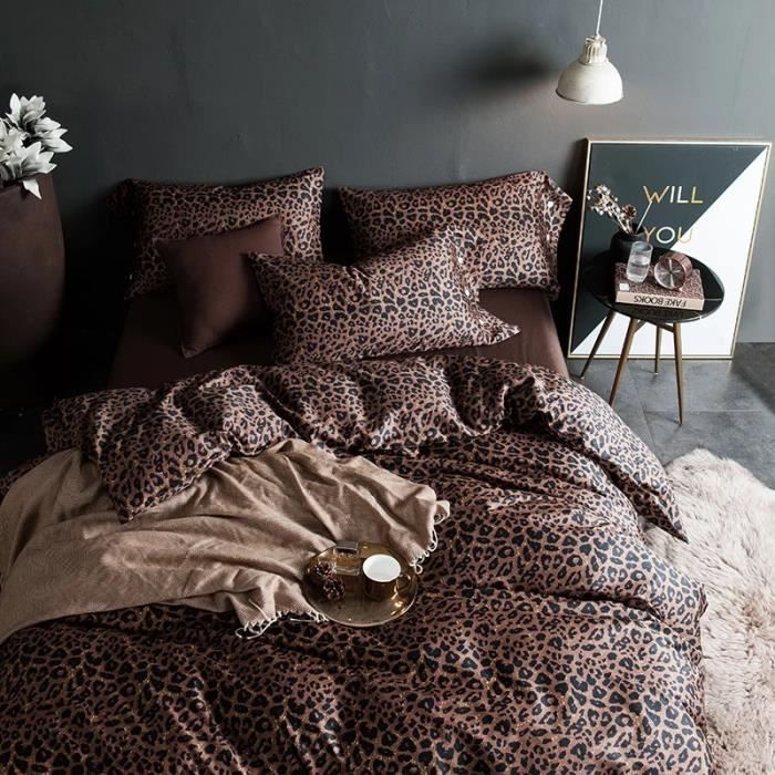 housse de couette leopard achat vente housse de. Black Bedroom Furniture Sets. Home Design Ideas