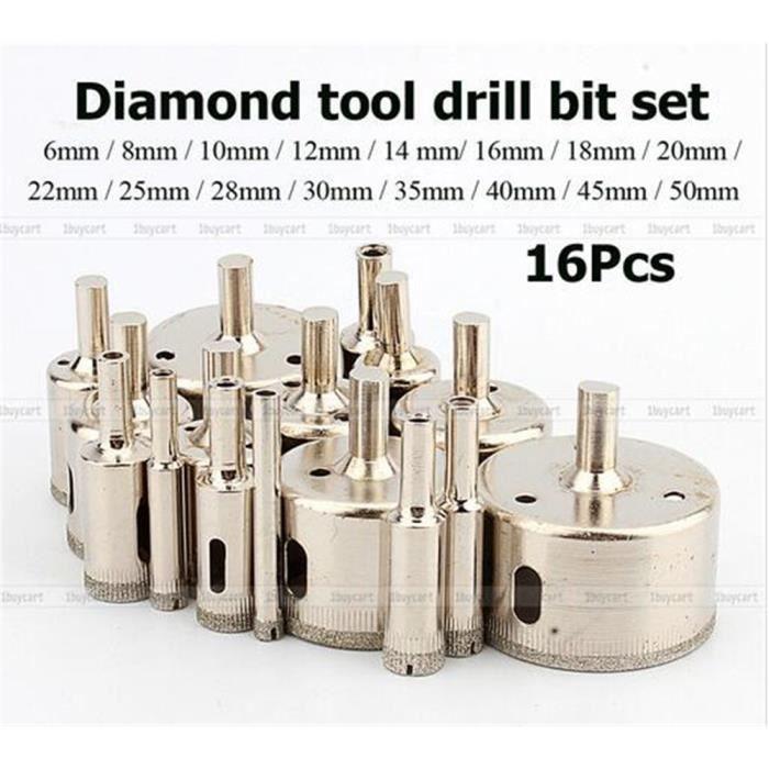 Diamant Scie-cloche Set 16Pcs Trous Scie Perceuse Fraise Carrelage Verre Marbre Céramique