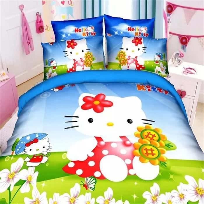l m hello kitty parure de couette parure de lit 1 housse. Black Bedroom Furniture Sets. Home Design Ideas