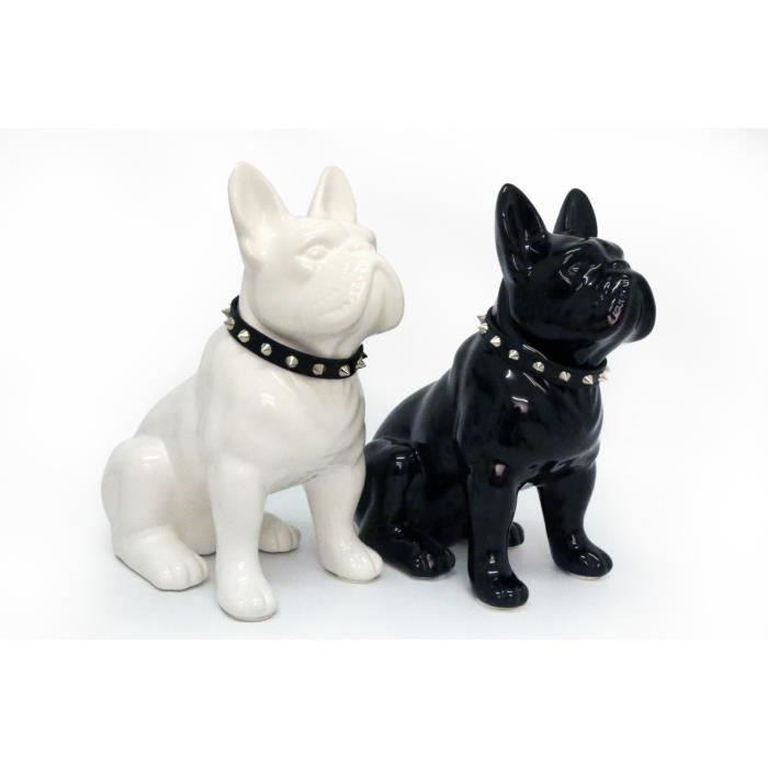 deco statue de chien bouledogue fran ais noir en c ramique avec collier 17 cm achat vente. Black Bedroom Furniture Sets. Home Design Ideas