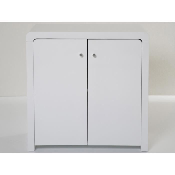 buffet design blanc laqu 2 portes 80 cm achat vente. Black Bedroom Furniture Sets. Home Design Ideas