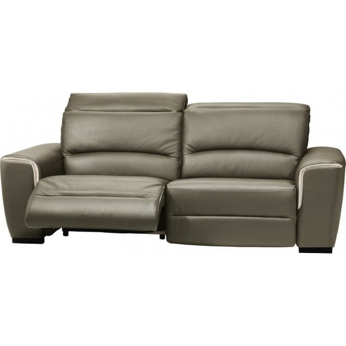 Canap cuir relax contemporain 3 places nils gris achat - Canape relax discount ...