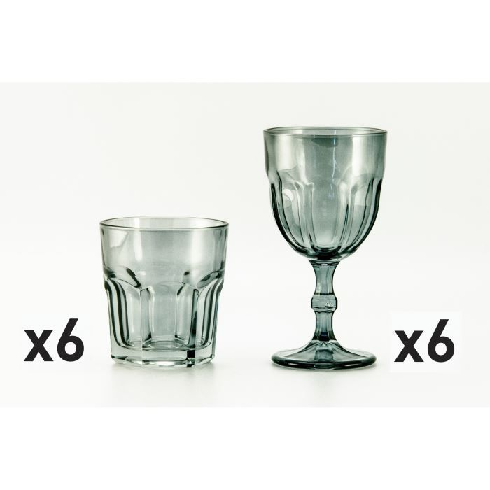 lot 6 verres 35cl 6 verres 31cl country anthraci achat vente verre eau soda cdiscount. Black Bedroom Furniture Sets. Home Design Ideas