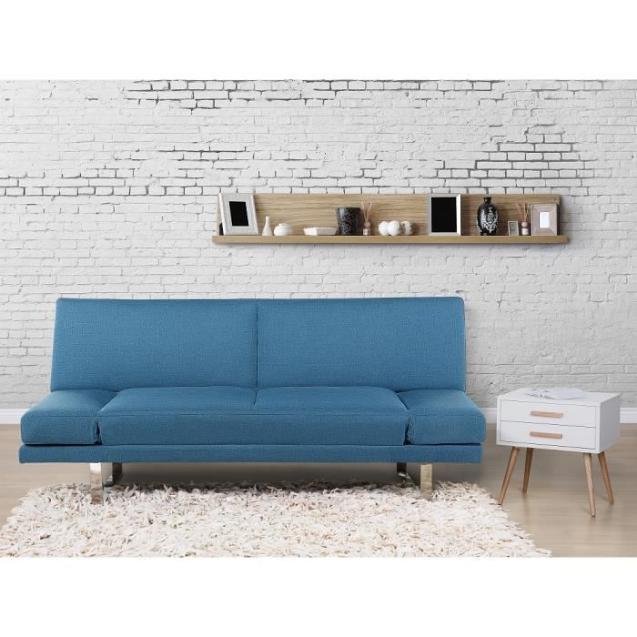 canap convertible canap lit en tissu bleu marine york achat vente canap sofa. Black Bedroom Furniture Sets. Home Design Ideas