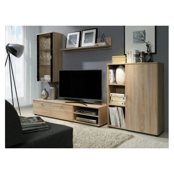 meuble tv design mural damiano bois clair achat vente. Black Bedroom Furniture Sets. Home Design Ideas