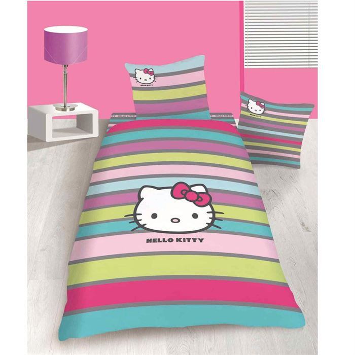 maison linge parure de couette hello kitty fancy xcm f  cti