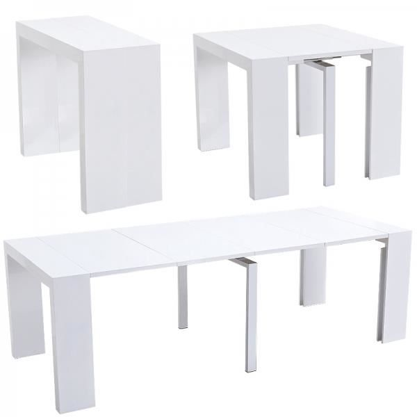 Table console extensible cherry laqu e blanc achat for Table laquee extensible