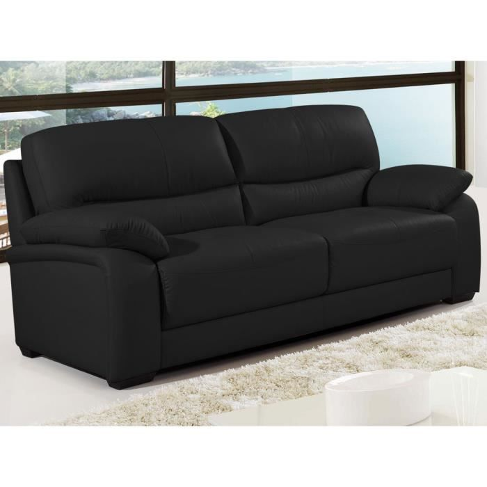 canap cuir de buffle milan 3 places noir achat vente canap sofa divan cdiscount. Black Bedroom Furniture Sets. Home Design Ideas