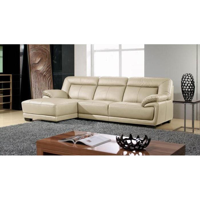 canap design angle gauche cuir beige andy achat vente canap sofa divan cdiscount. Black Bedroom Furniture Sets. Home Design Ideas