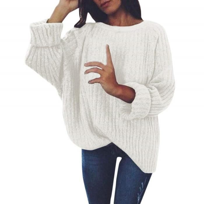 Robe Pull Femme Hiver En Maille Decontractee Sweater Pas Cher A La Mode A Manches Longues Velours Pullover Blanc Achat Vente Pull Cdiscount