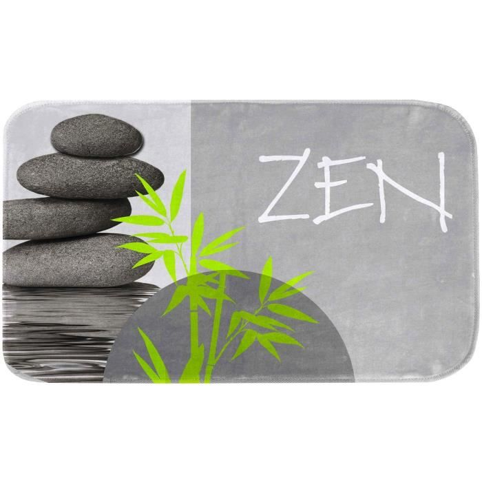 Tapis De Bain Deco Zen Tibetain Colonne Galet Inscription Microfibre 45 X 75 Cm Gris