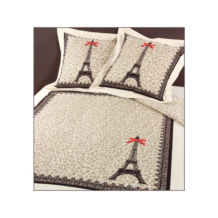 parure housse de couette paris l opard camel achat. Black Bedroom Furniture Sets. Home Design Ideas