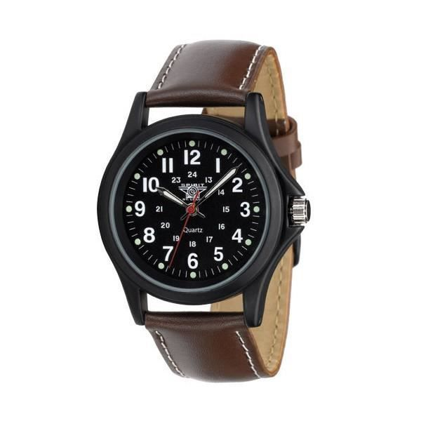 montre homme analogique swa 25 spirit of saint louis bracelet cuir marron achat vente. Black Bedroom Furniture Sets. Home Design Ideas
