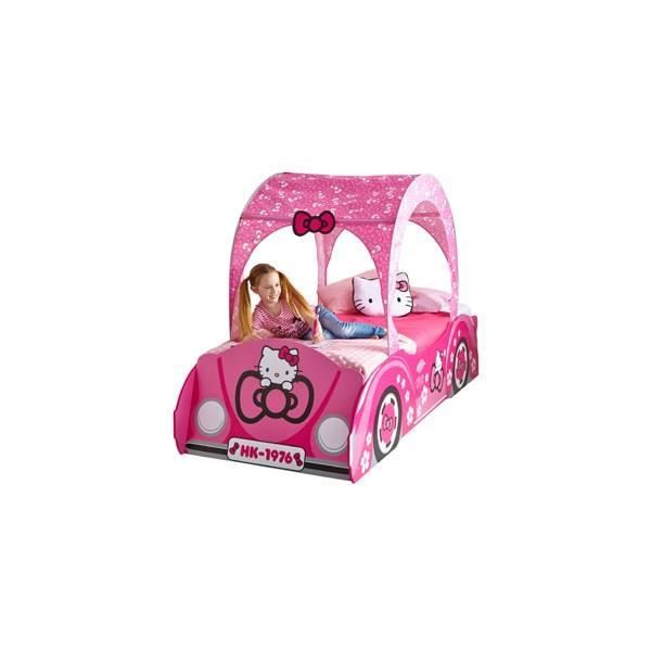 grand lit rose fille bois hello kitty voiture 90 x 190 cm achat vente structure de lit grand. Black Bedroom Furniture Sets. Home Design Ideas