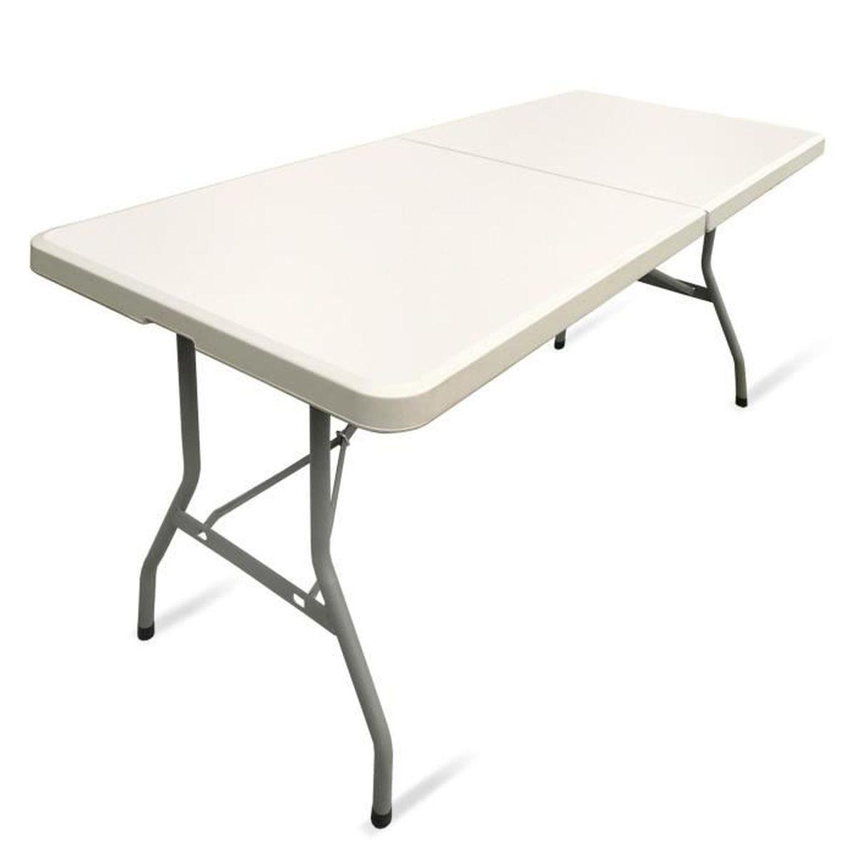 table pliable, table de jardin, table de camping, table de salon, table  valise 183x75x74 cm, couleur creme avec poignee