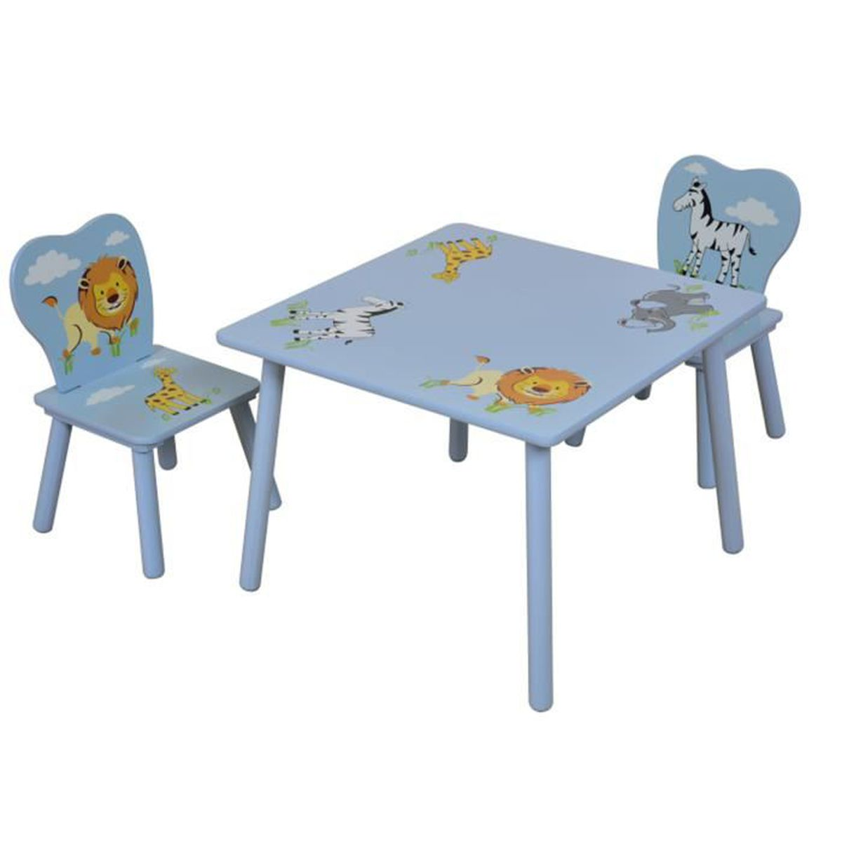 ensemble table et 2 chaises pour enfant en bois coloris bleu motif animaux achat vente table. Black Bedroom Furniture Sets. Home Design Ideas