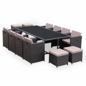 Ensemble table et chaise de jardin Salon de jardin Vasto Chocolat table en résine tre
