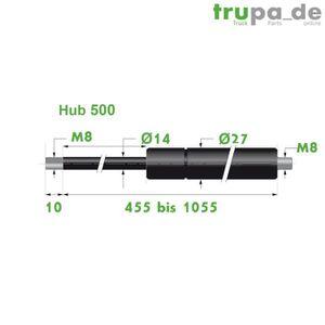 1 levage 350 l = 785 mm 1000N Trupa V/érin /à gaz 10//21 8